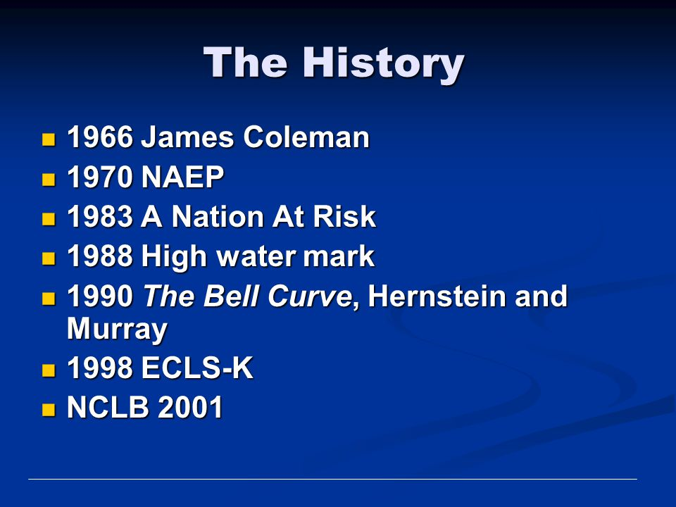 The History 1966 James Coleman 1970 NAEP 1983 A Nation At Risk
