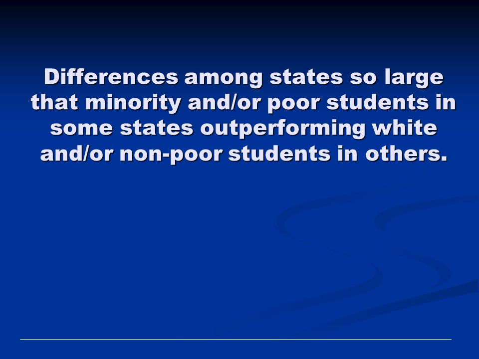 Differences among states so large that minority and/or poor students in some states outperforming white and/or non-poor students in others.