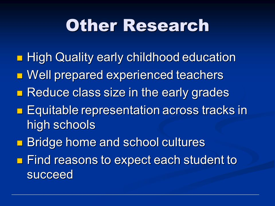 Other Research High Quality early childhood education