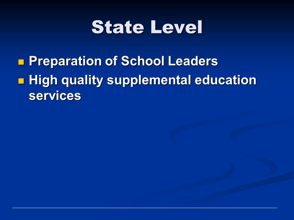 State Level Preparation of School Leaders