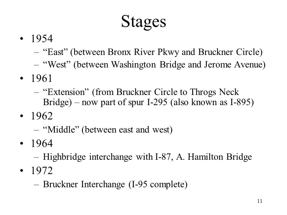 Stages 1954. East (between Bronx River Pkwy and Bruckner Circle) West (between Washington Bridge and Jerome Avenue)