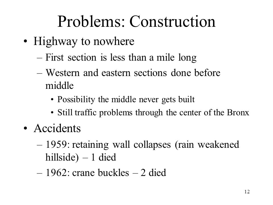 Problems: Construction