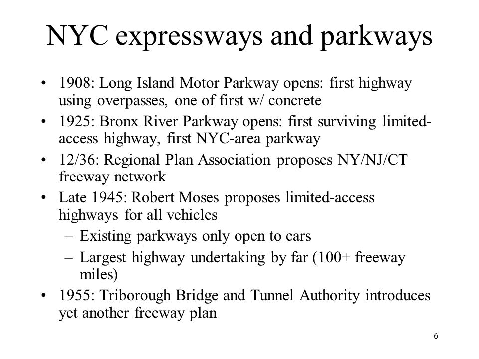 NYC expressways and parkways