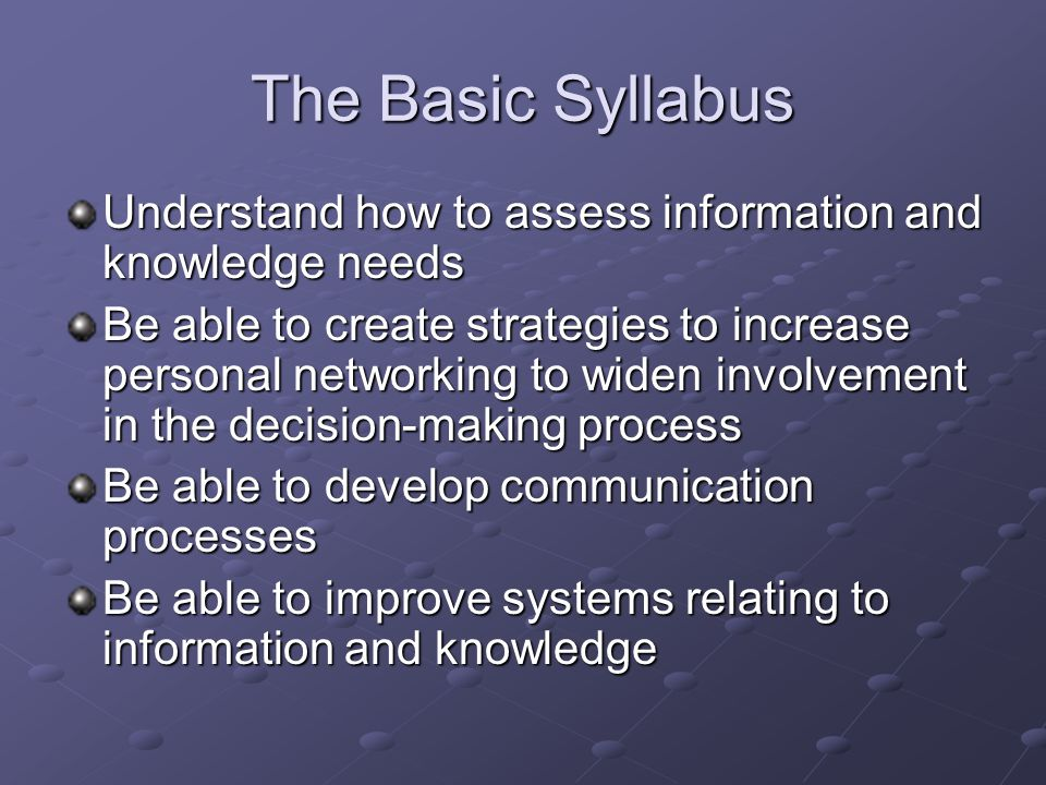 The Basic Syllabus Understand how to assess information and knowledge needs.