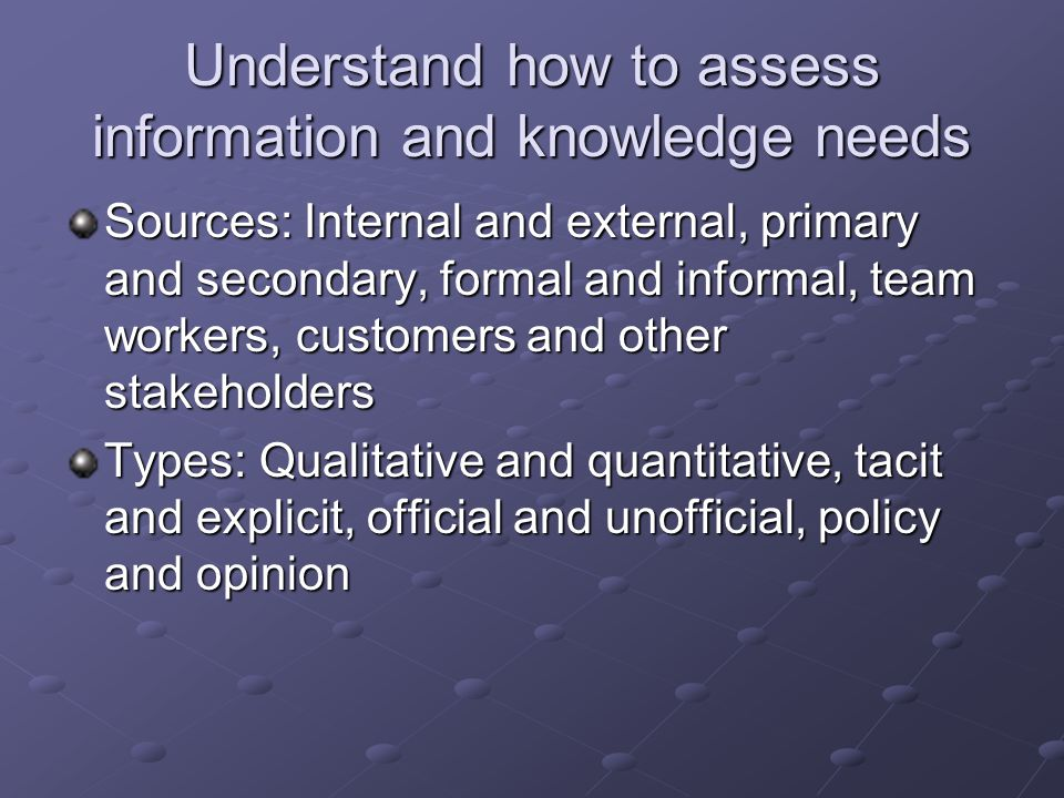 Understand how to assess information and knowledge needs