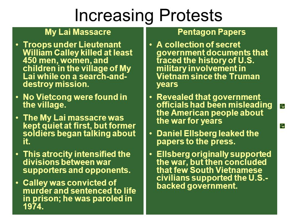 Increasing Protests My Lai Massacre