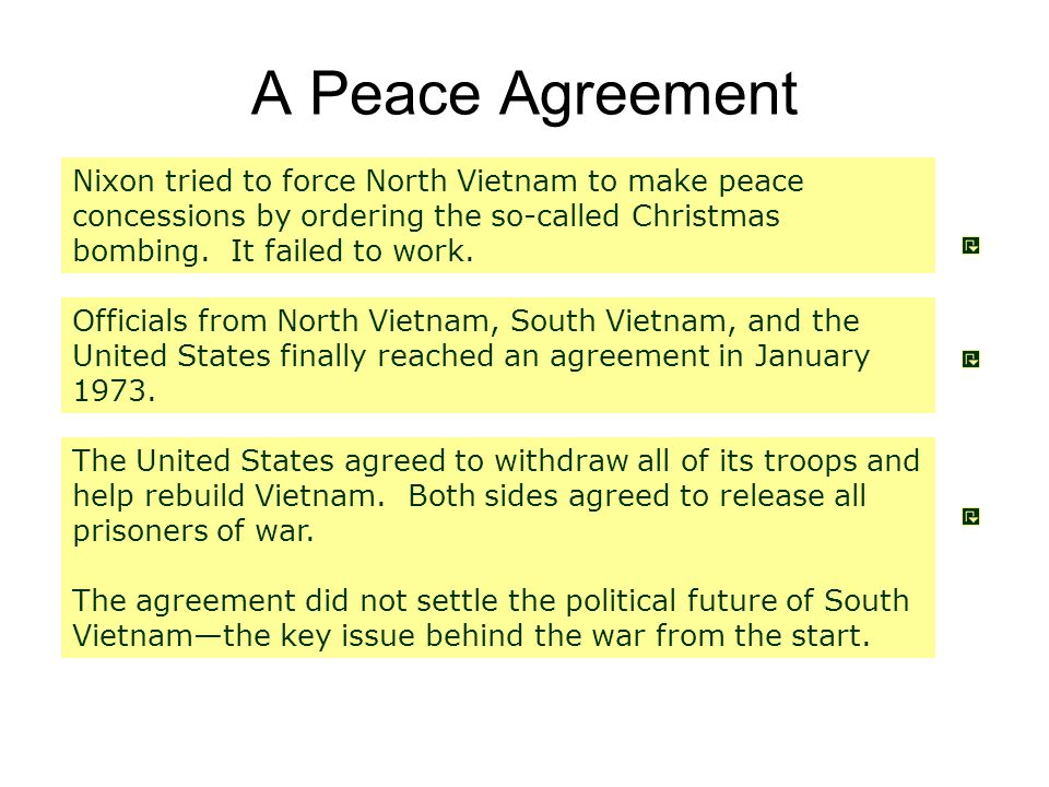 A Peace Agreement Nixon tried to force North Vietnam to make peace concessions by ordering the so-called Christmas bombing. It failed to work.