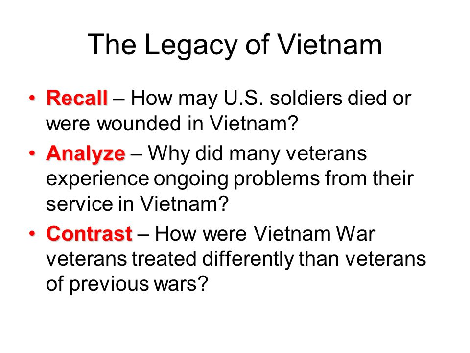 The Legacy of Vietnam Recall – How may U.S. soldiers died or were wounded in Vietnam