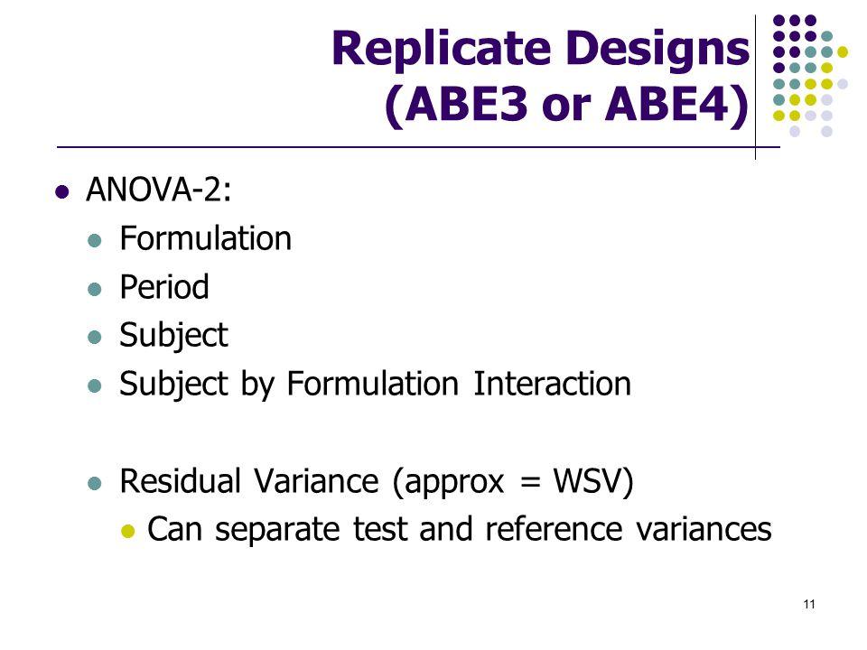 Replicate Designs (ABE3 or ABE4)