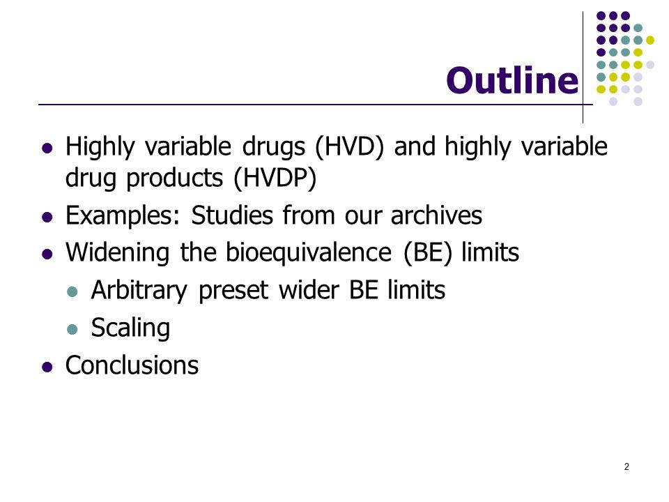 Outline Highly variable drugs (HVD) and highly variable drug products (HVDP) Examples: Studies from our archives.