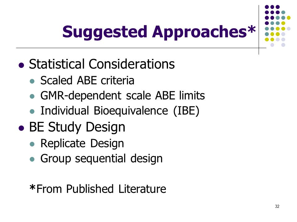 Suggested Approaches*