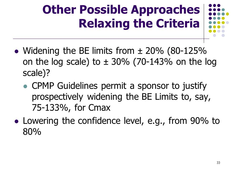 Other Possible Approaches Relaxing the Criteria