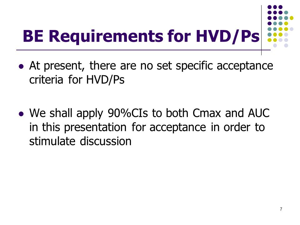 BE Requirements for HVD/Ps