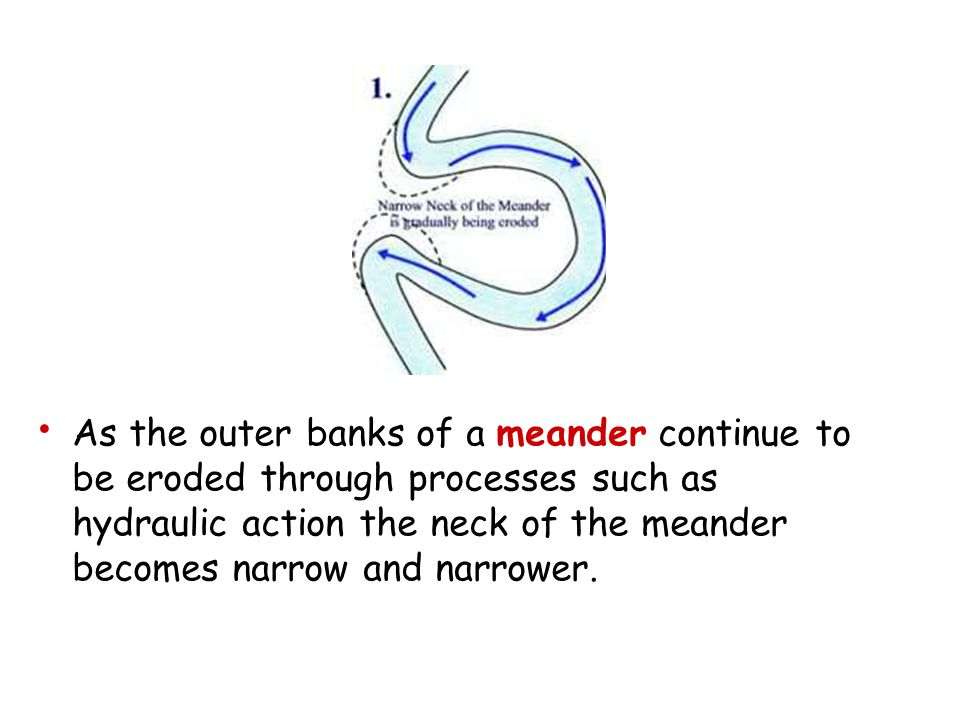 As the outer banks of a meander continue to be eroded through processes such as hydraulic action the neck of the meander becomes narrow and narrower.