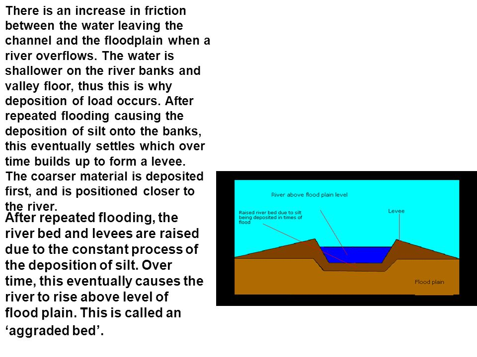 There is an increase in friction between the water leaving the channel and the floodplain when a river overflows. The water is shallower on the river banks and valley floor, thus this is why deposition of load occurs. After repeated flooding causing the deposition of silt onto the banks, this eventually settles which over time builds up to form a levee. The coarser material is deposited first, and is positioned closer to the river.