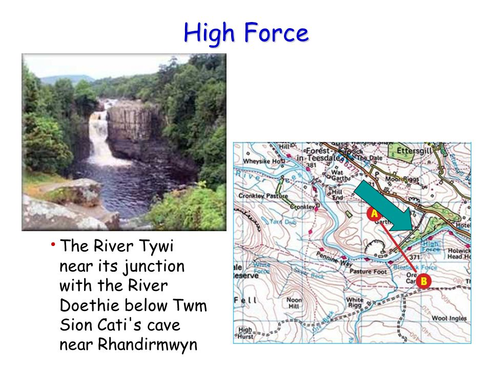 High Force The River Tywi near its junction with the River Doethie below Twm Sion Cati s cave near Rhandirmwyn.