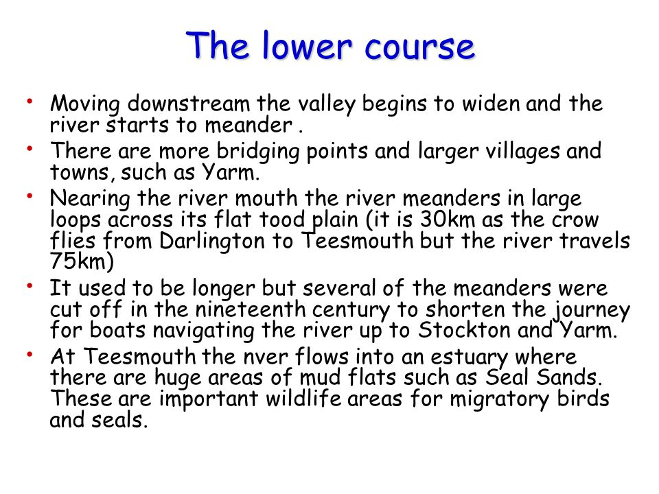 The lower course Moving downstream the valley begins to widen and the river starts to meander .
