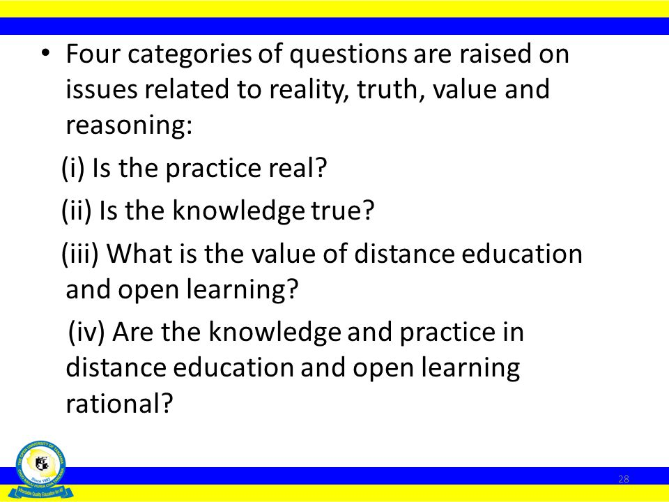 Four categories of questions are raised on issues related to reality, truth, value and reasoning: