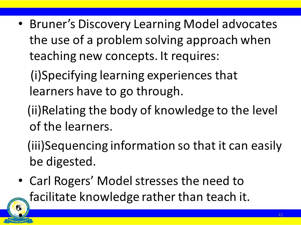 Bruner's Discovery Learning Model advocates the use of a problem solving approach when teaching new concepts. It requires: