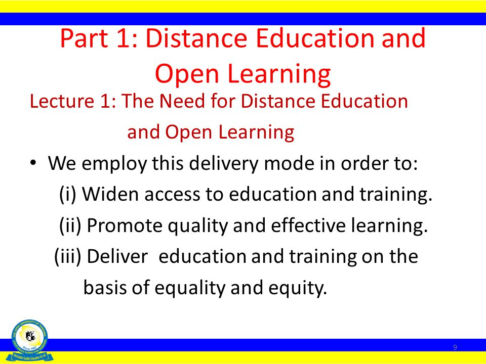 Part 1: Distance Education and Open Learning