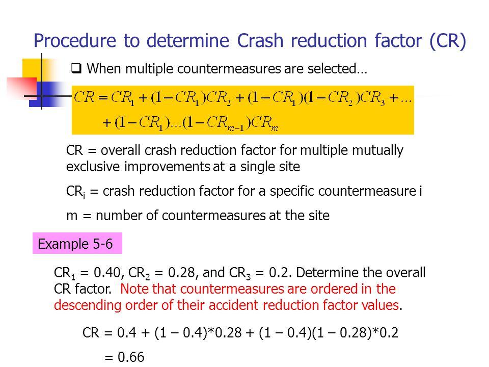 Procedure to determine Crash reduction factor (CR)