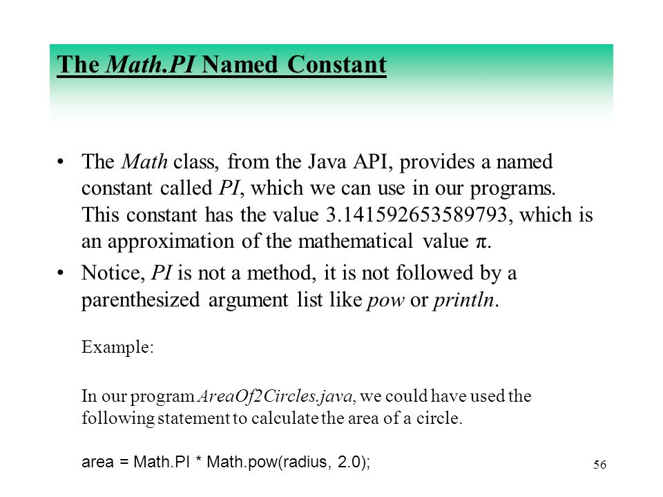 The Math.PI Named Constant