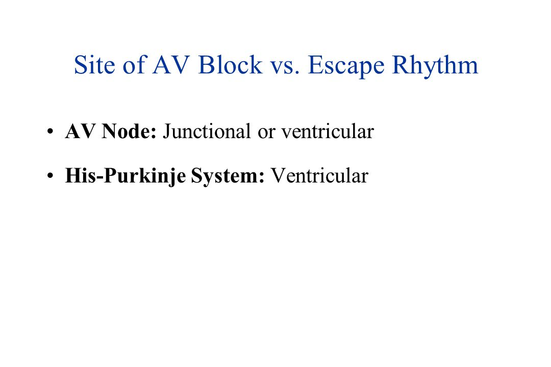 Site of AV Block vs. Escape Rhythm