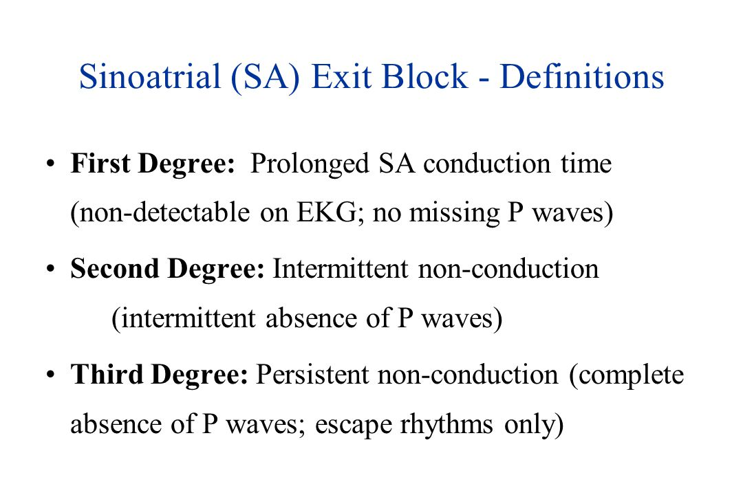 Sinoatrial (SA) Exit Block - Definitions
