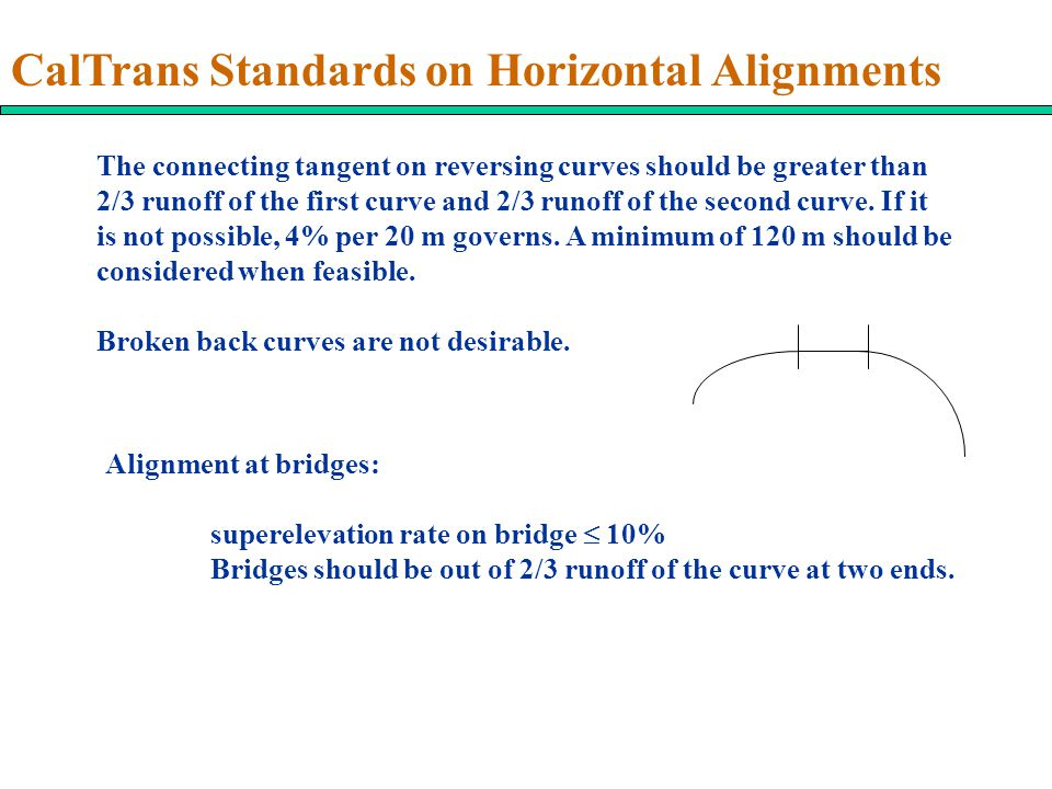 CalTrans Standards on Horizontal Alignments