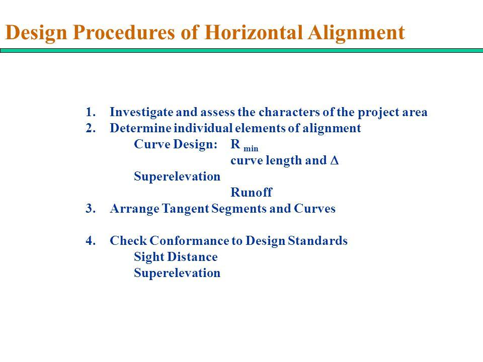 Design Procedures of Horizontal Alignment
