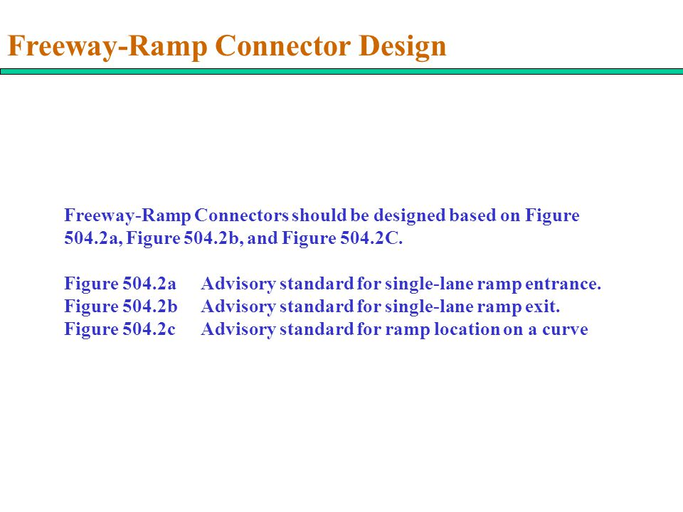 Freeway-Ramp Connector Design