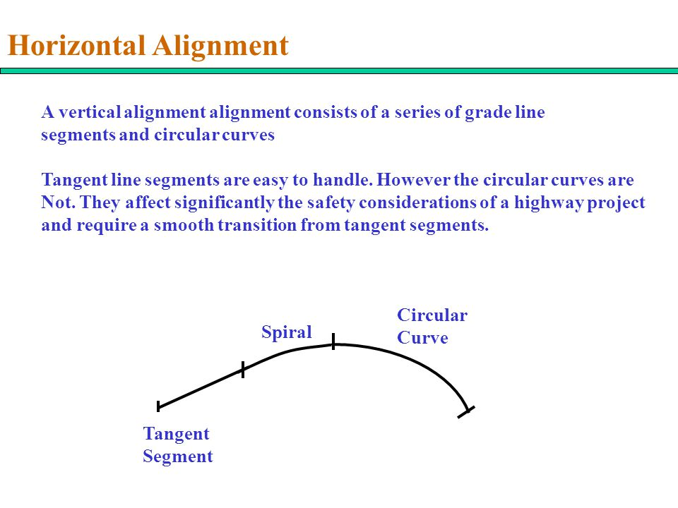 Horizontal Alignment A vertical alignment alignment consists of a series of grade line segments and circular curves.