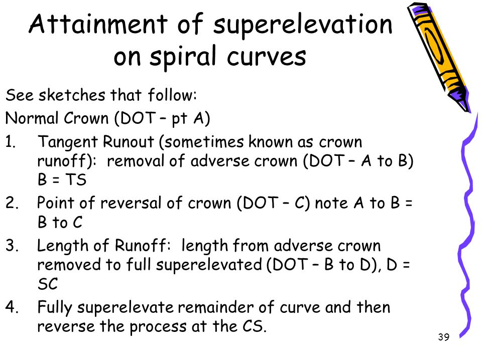 Attainment of superelevation on spiral curves