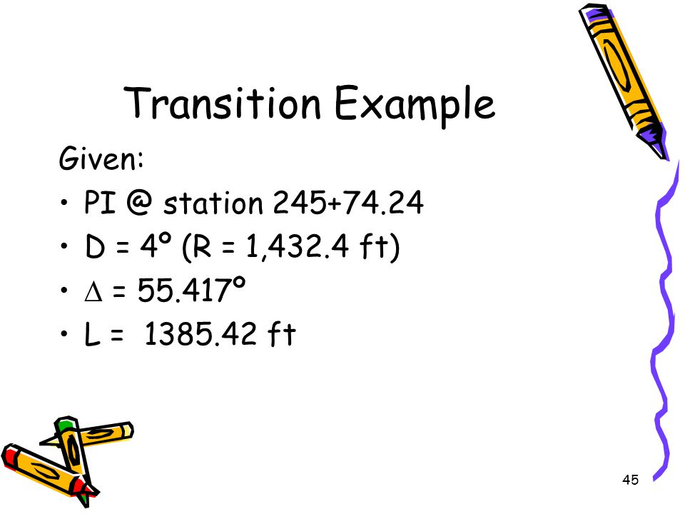 Transition Example Given: PI @ station 245+74.24