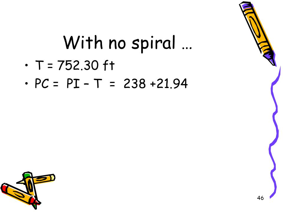 With no spiral … T = 752.30 ft PC = PI – T = 238 +21.94