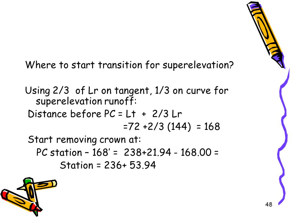 Where to start transition for superelevation