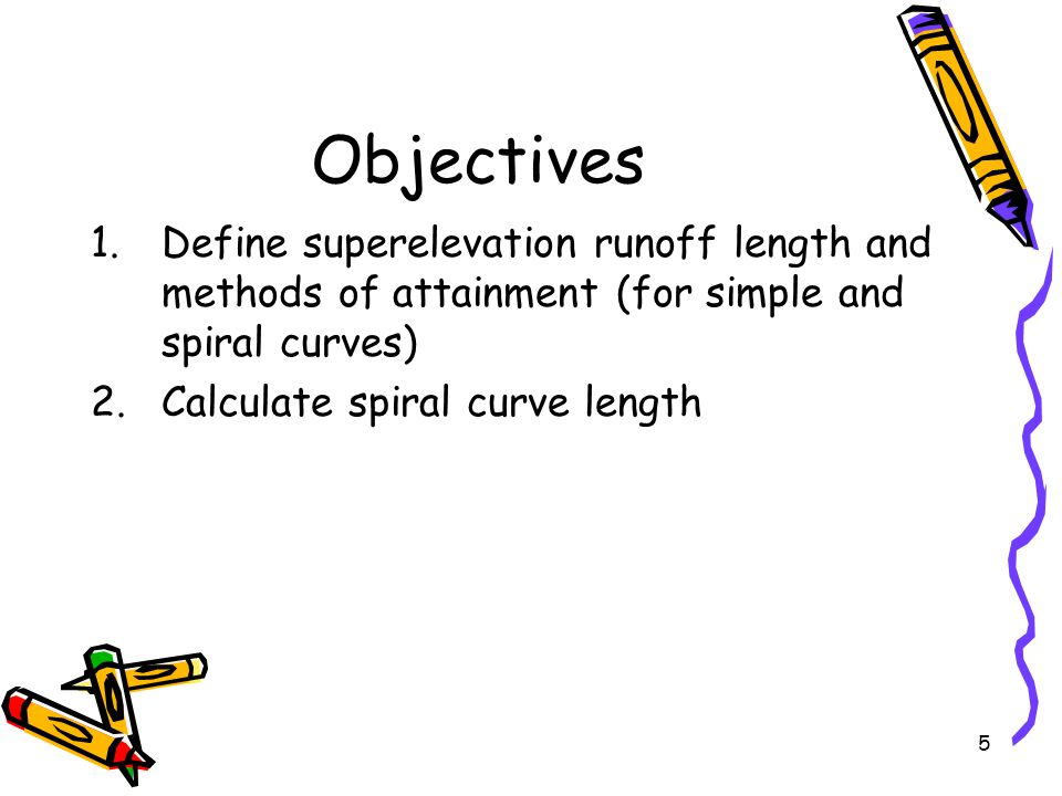 Objectives Define superelevation runoff length and methods of attainment (for simple and spiral curves)