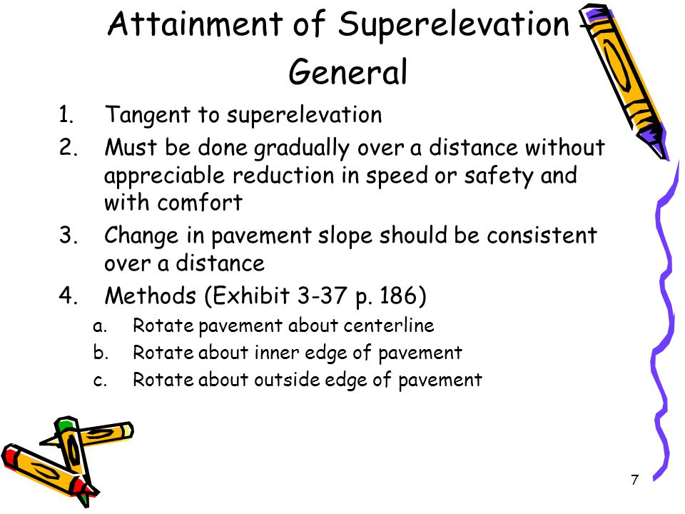 Attainment of Superelevation - General