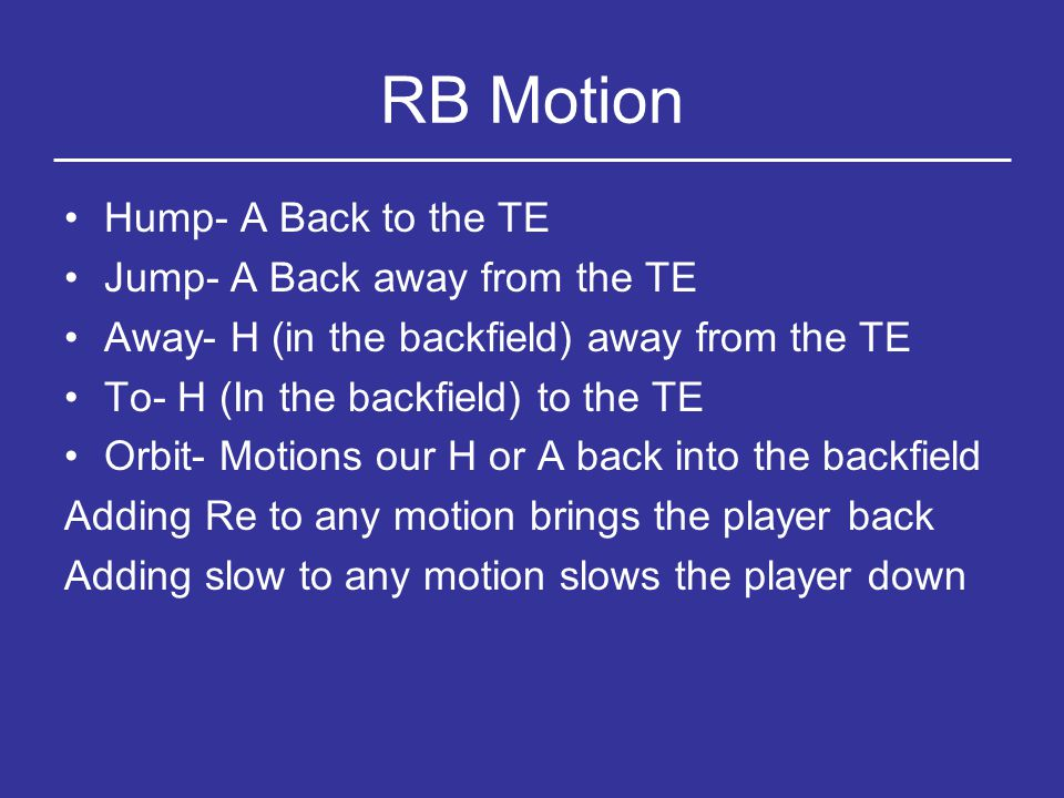 RB Motion Hump- A Back to the TE Jump- A Back away from the TE