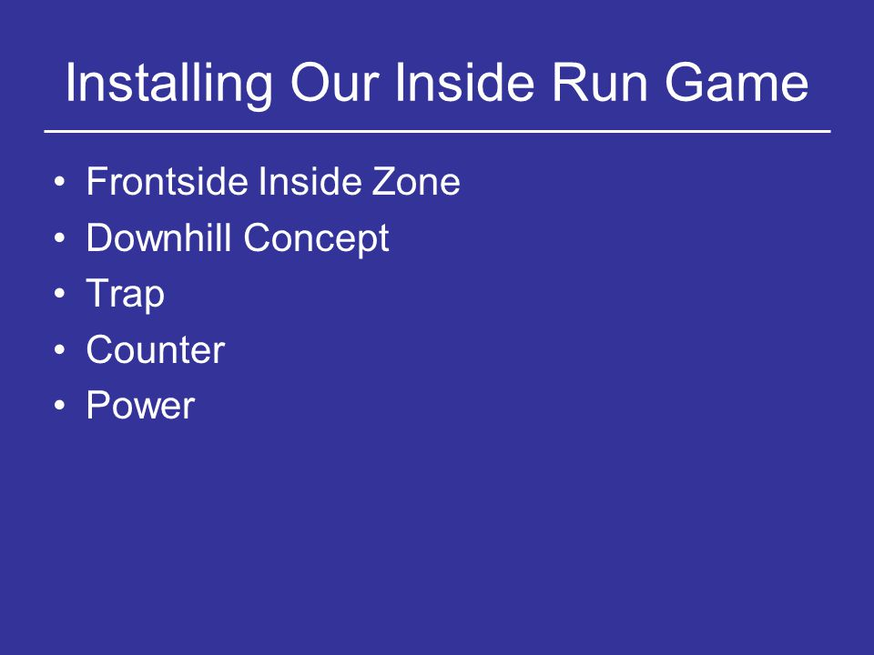 Installing Our Inside Run Game