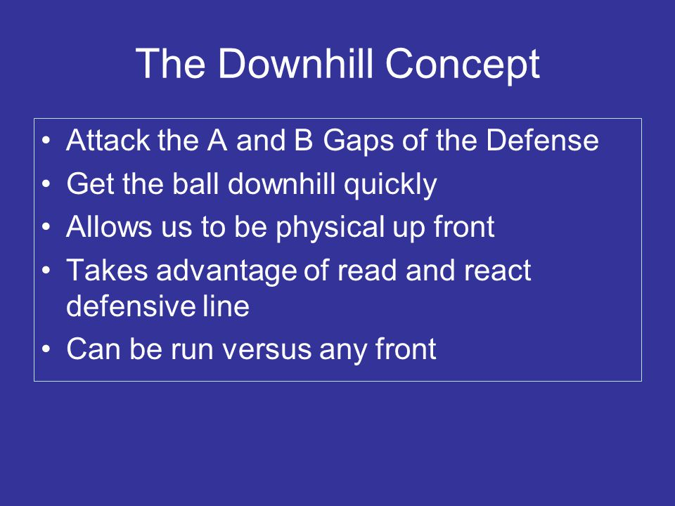 The Downhill Concept Attack the A and B Gaps of the Defense