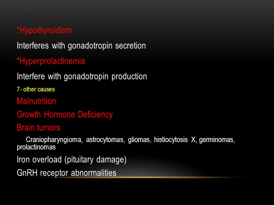 Interferes with gonadotropin secretion *Hyperprolactinemia