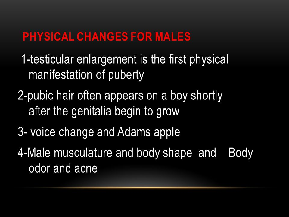 Physical Changes for Males