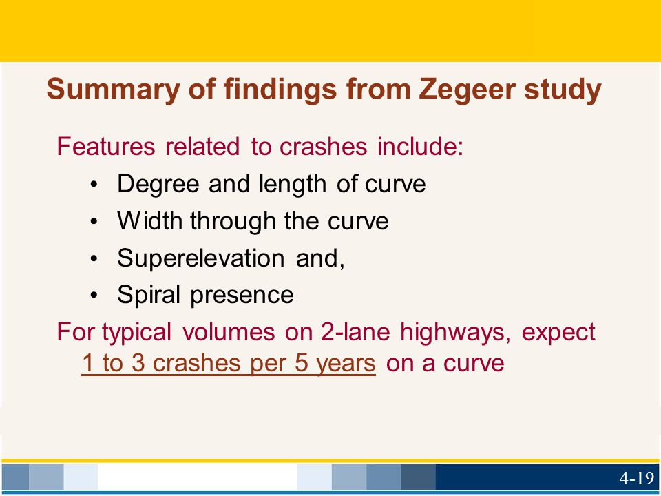 Summary of findings from Zegeer study