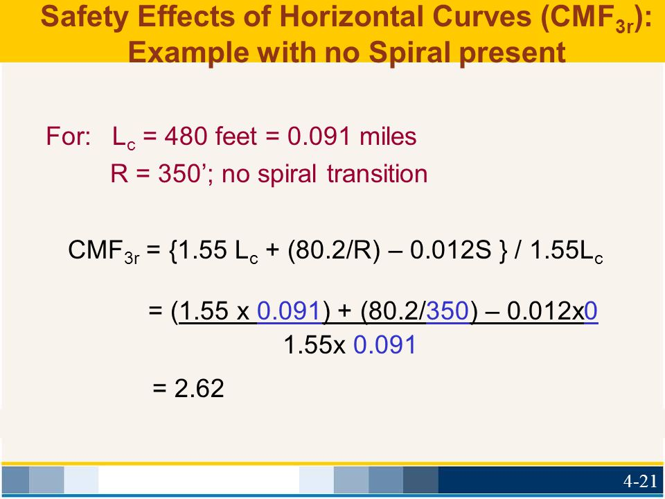 Safety Effects of Horizontal Curves (CMF3r): Example with no Spiral present