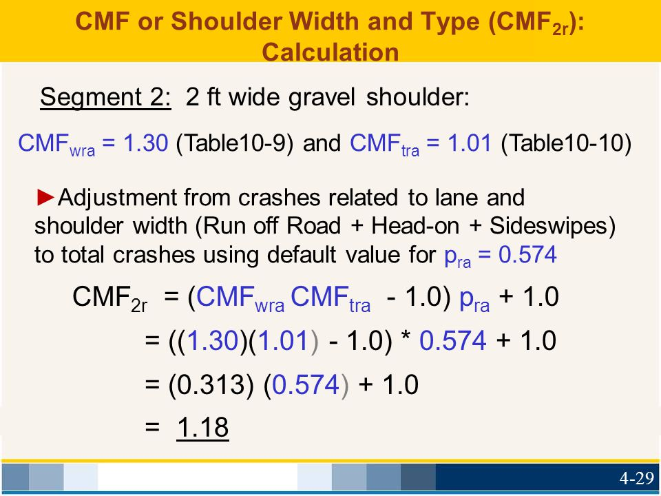 CMF or Shoulder Width and Type (CMF2r): Calculation