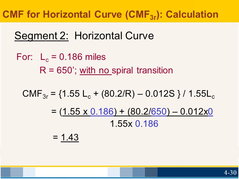 CMF for Horizontal Curve (CMF3r): Calculation