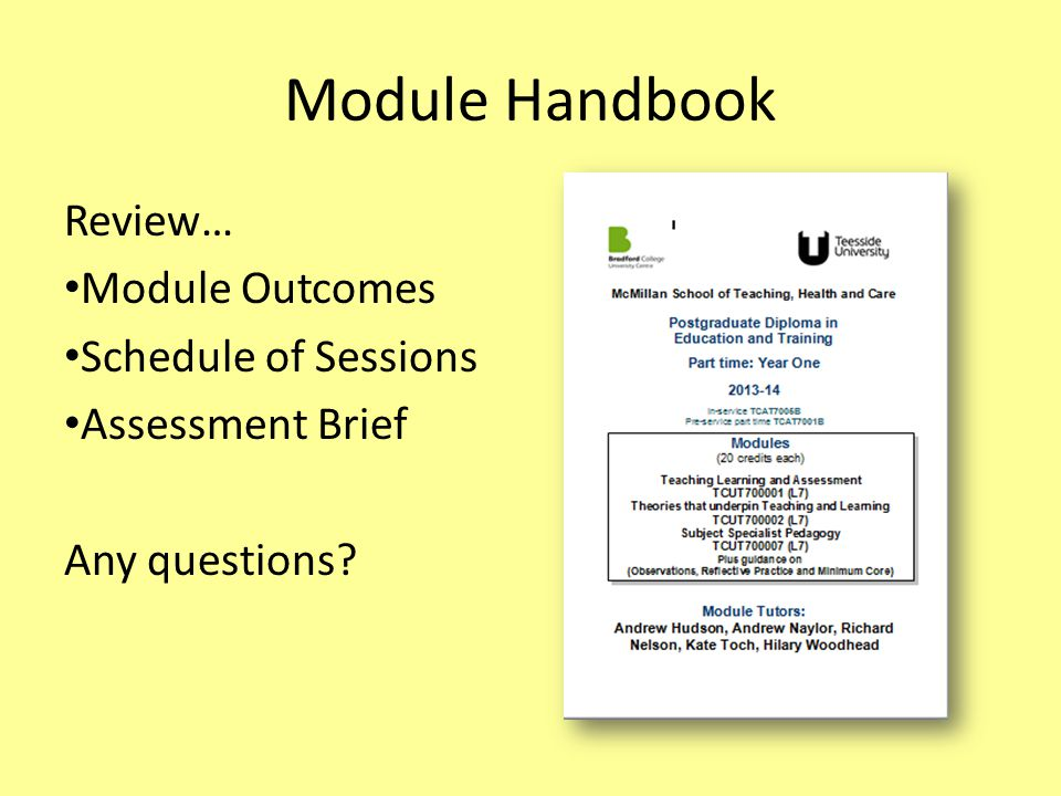 Module Handbook Review… Module Outcomes Schedule of Sessions