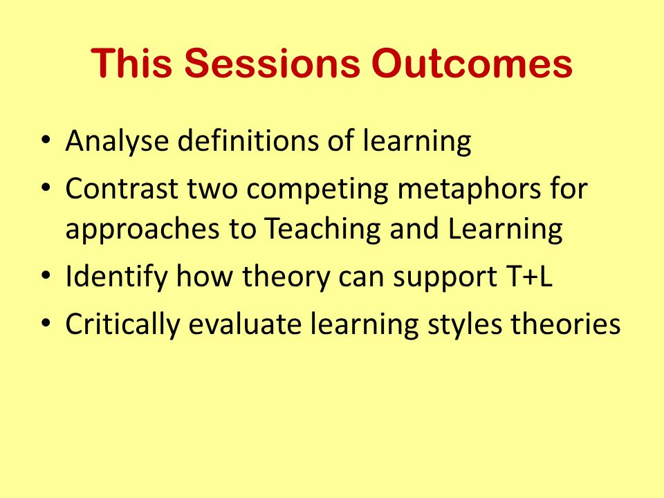 This Sessions Outcomes