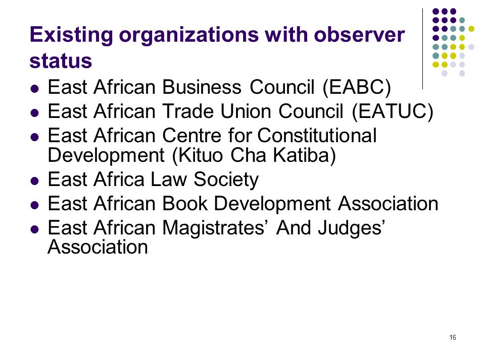 Existing organizations with observer status